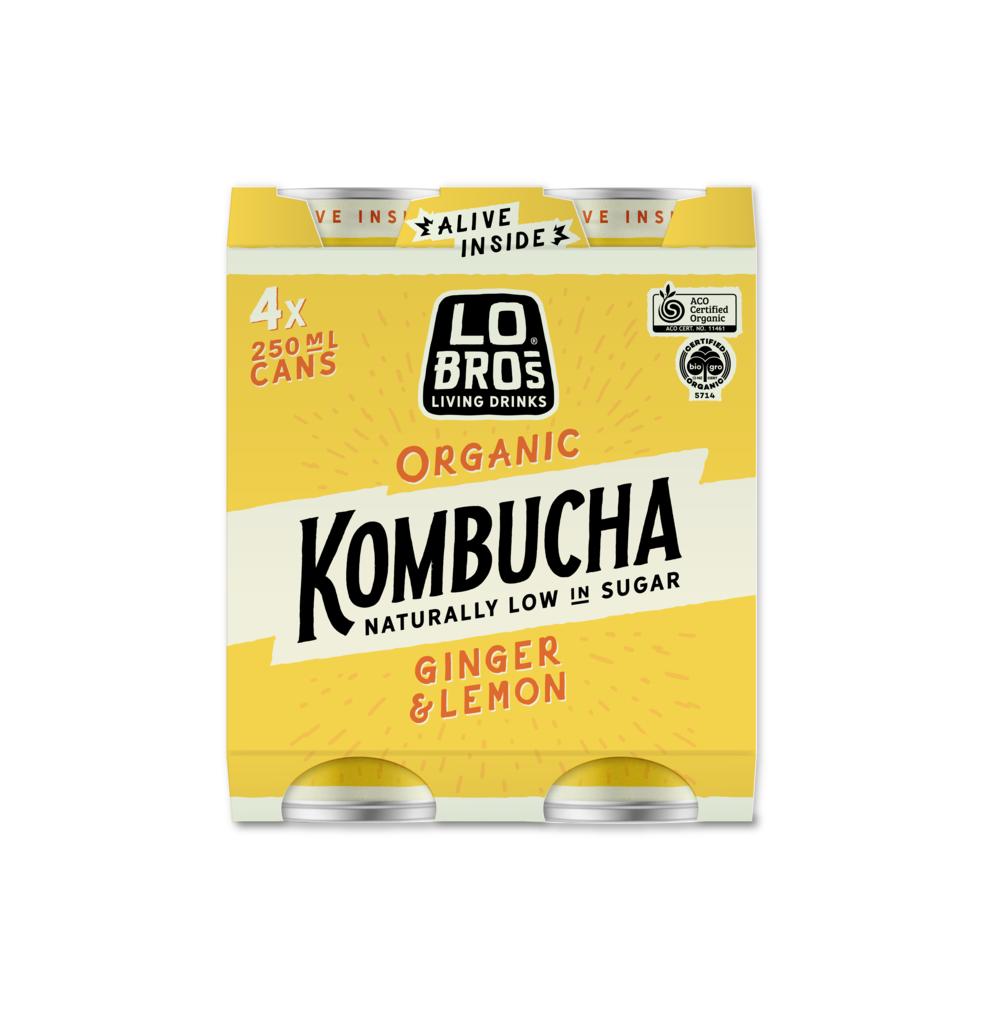 Lo Bros Kombucha Ginger and Lemon 4x250ml pack