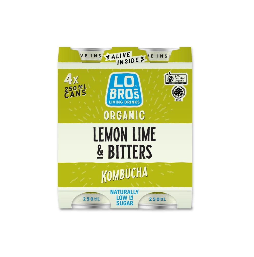Lo Bros Kombucha Lemon Lime Bitters 4x250ml pack