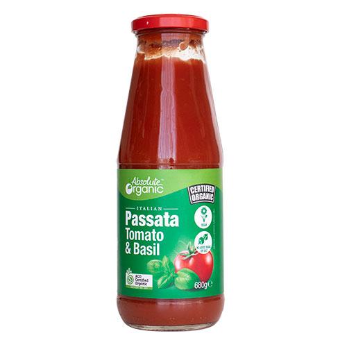 Absolute Organic Passata Tomato and Basil 680g