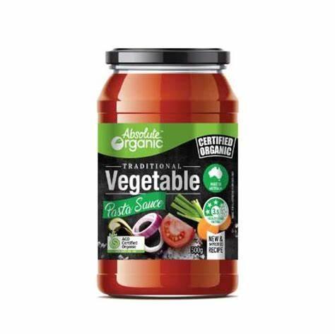 Absolute Organic Pasta Sauce Vegetable 500g