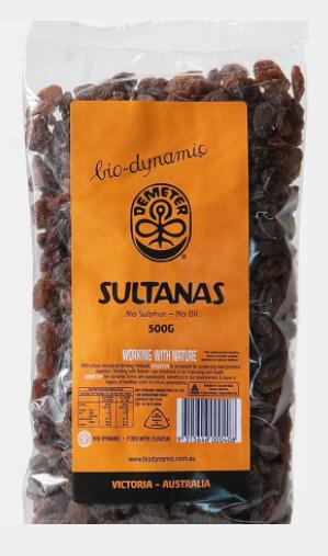 Biodynamic Sultanas 500g Pack /each